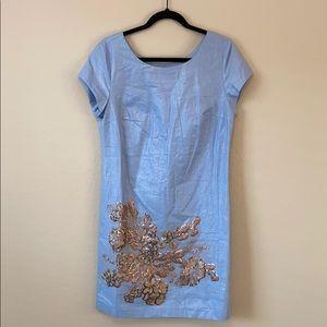 Dresses & Skirts - Blue Chambray Copper Sequin Shift Dress